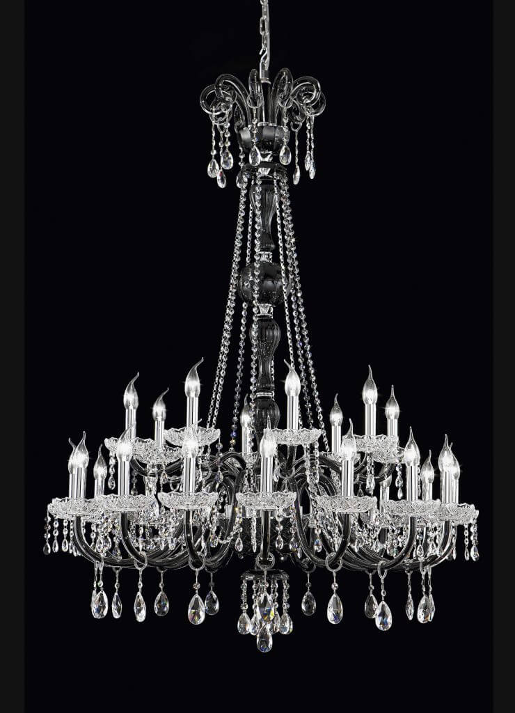 classic black chandelier murano glass with crystals